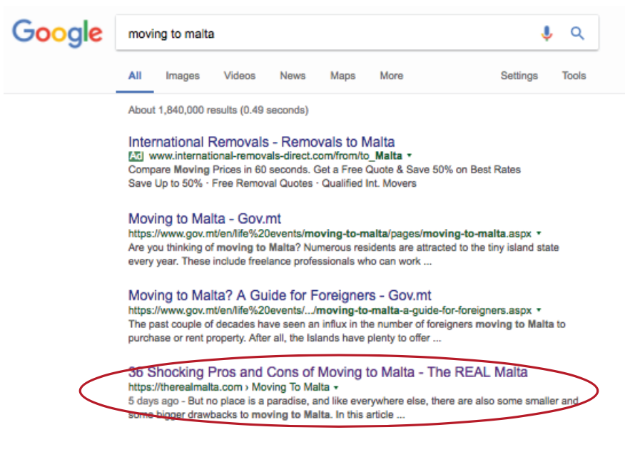 Moving to Malta Google Ranking