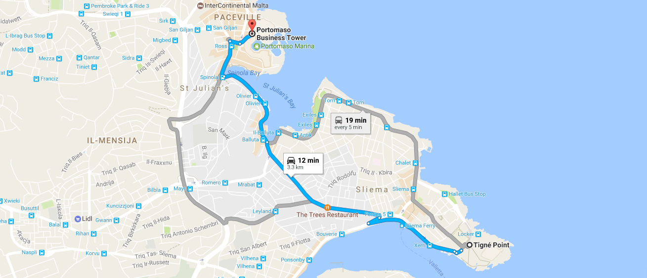 From St Julians to Sliema